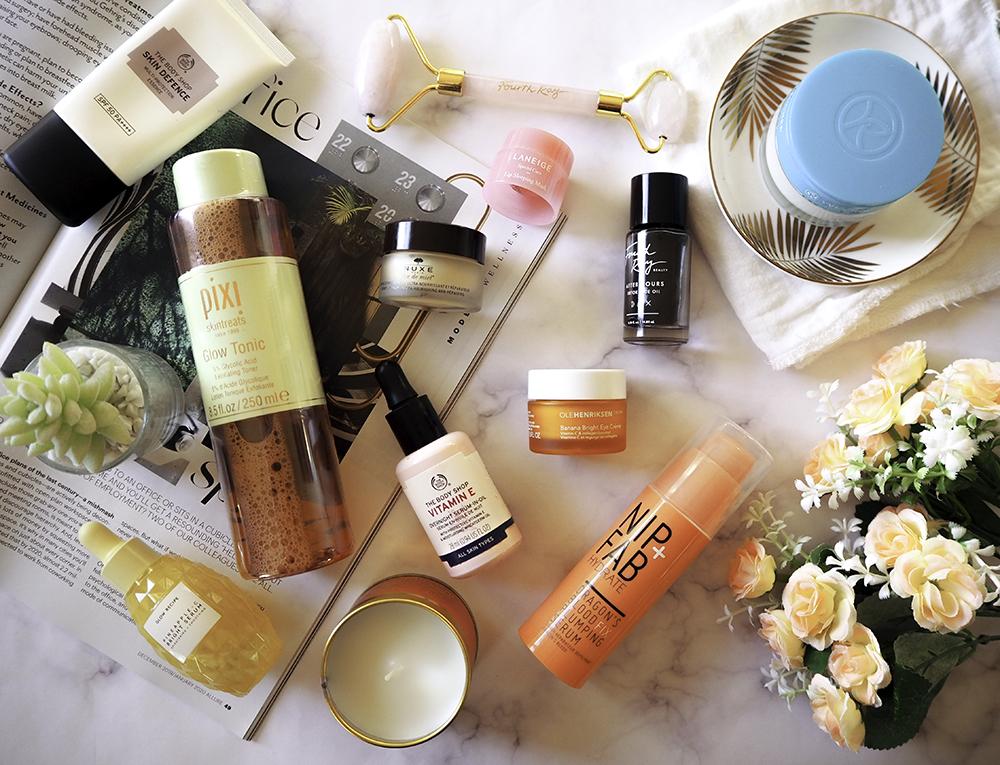 Skincare products flatlay image