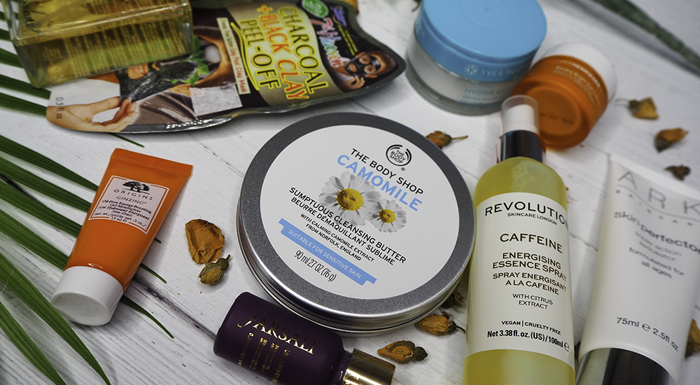 Skincare products flatlay