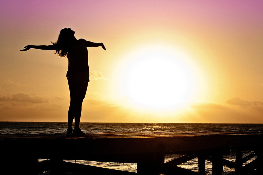 Happy woman silhouette image