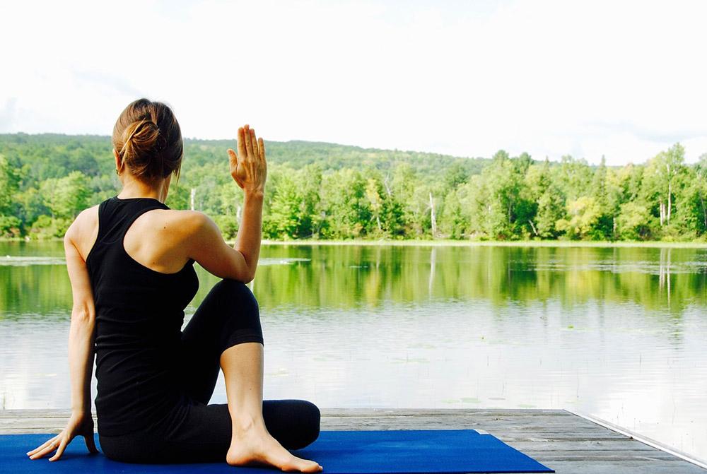 Woman doing yoga image