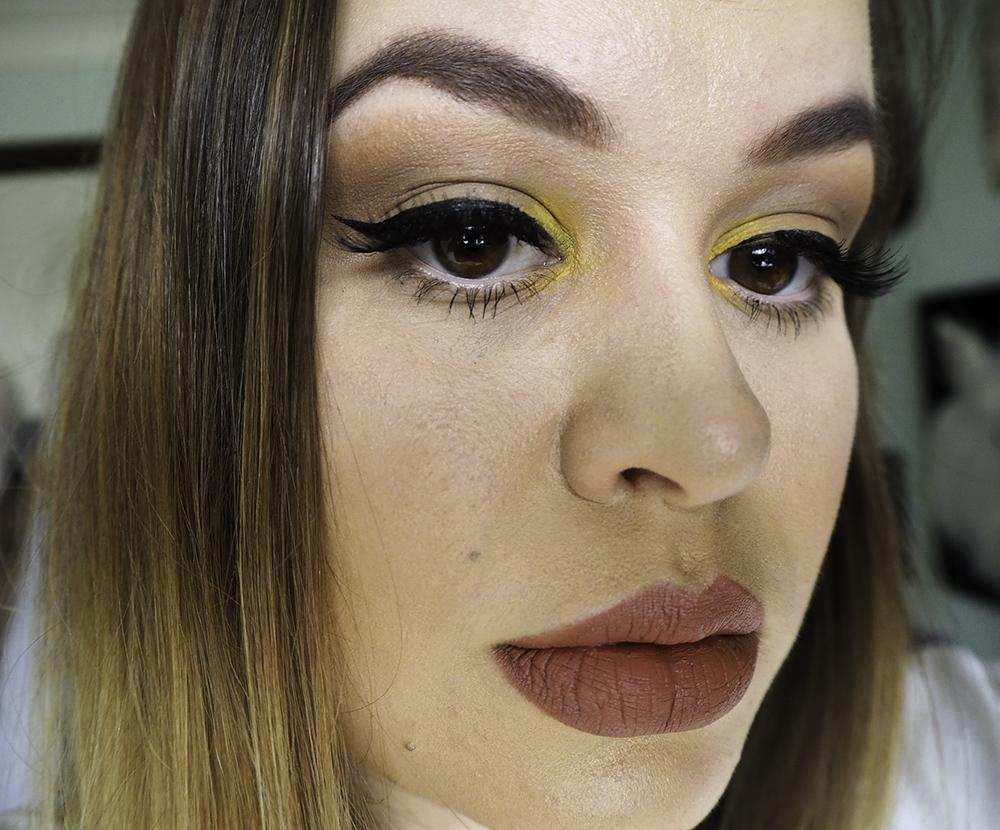 Kylie Jenner yellow eyeshadow inspired makeup look image