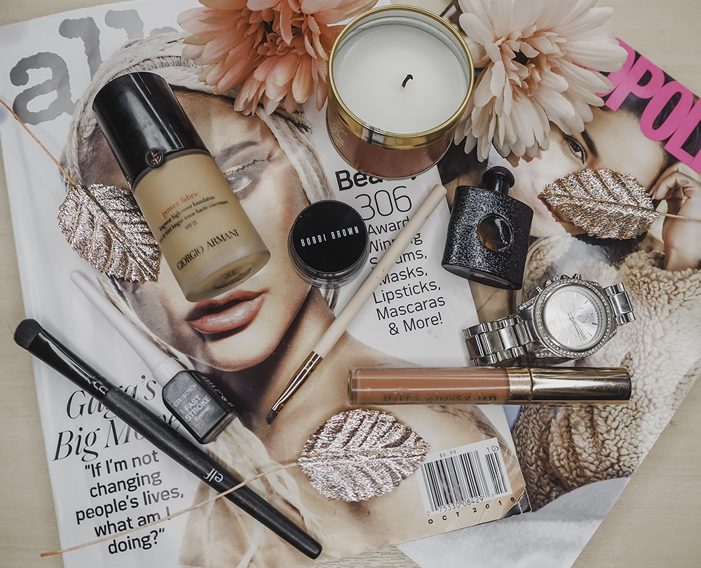 Makeup products flatlay