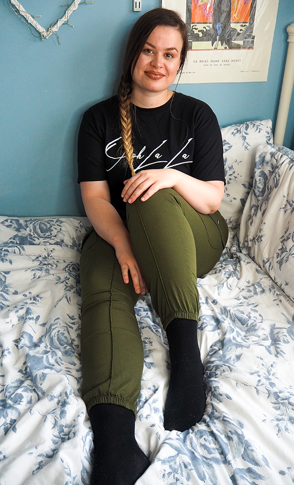 Femme Luxe khaki trousers and black t-shirt image