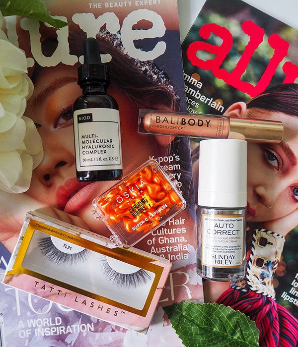Beauty products flatlay image