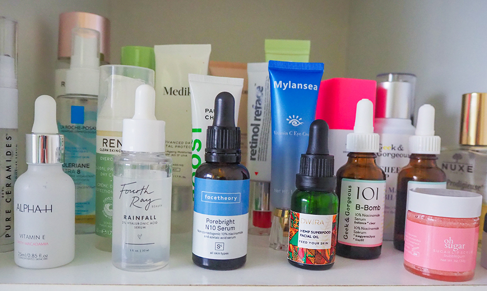 skincare products shelfie image