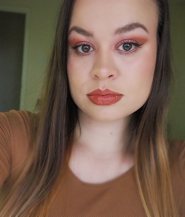 Makeup look with Fenty Beauty Gloss Bomb Cream Cookie Jar image