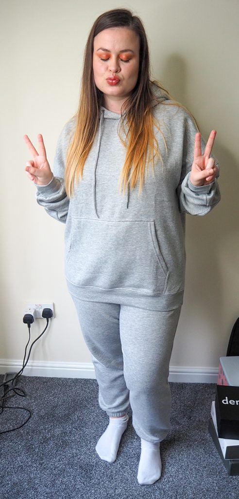 Femme Luxe Grey Marl Oversized Front Pocket Pullover Hoodie Cuffed Joggers Loungewear Set - Alexia image