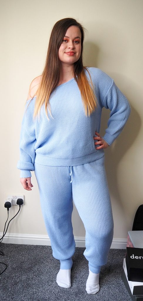 Femme Luxe Blue Off The Shoulder Knitted Loungewear Set - Alisa image