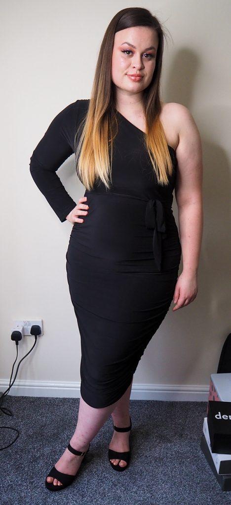 Femme Luxe Black One Shoulder Ruched Slinky Midi Dress - Savannah image