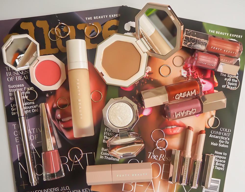 Fenty Beauty makeup products flatlay