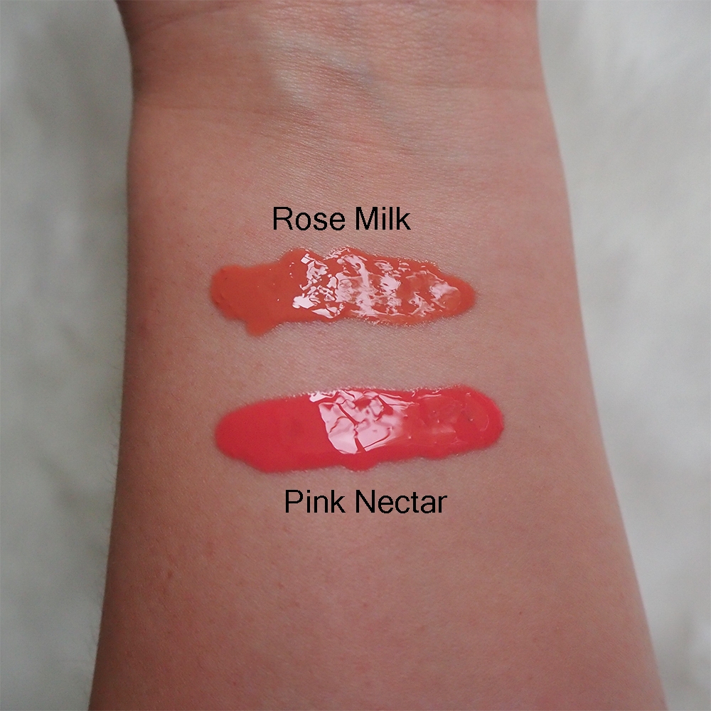 EM Cosmetics Color Drops Serum Blush swatches for Pink Nectar and Rose Milk image